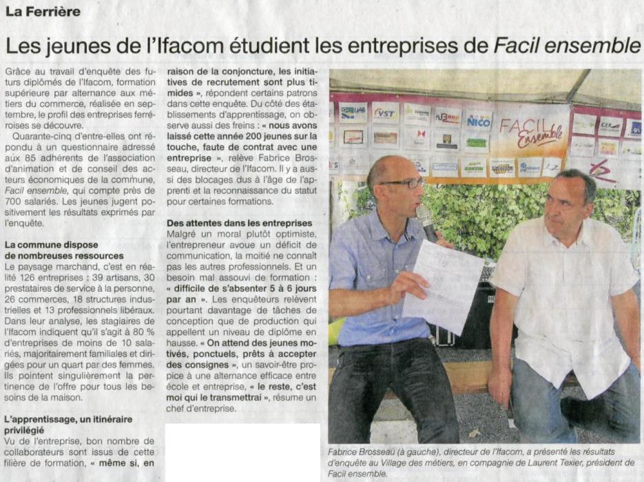 Les jeunes de l'Ifacom étudient les entreprises de FACIL'Ensemble