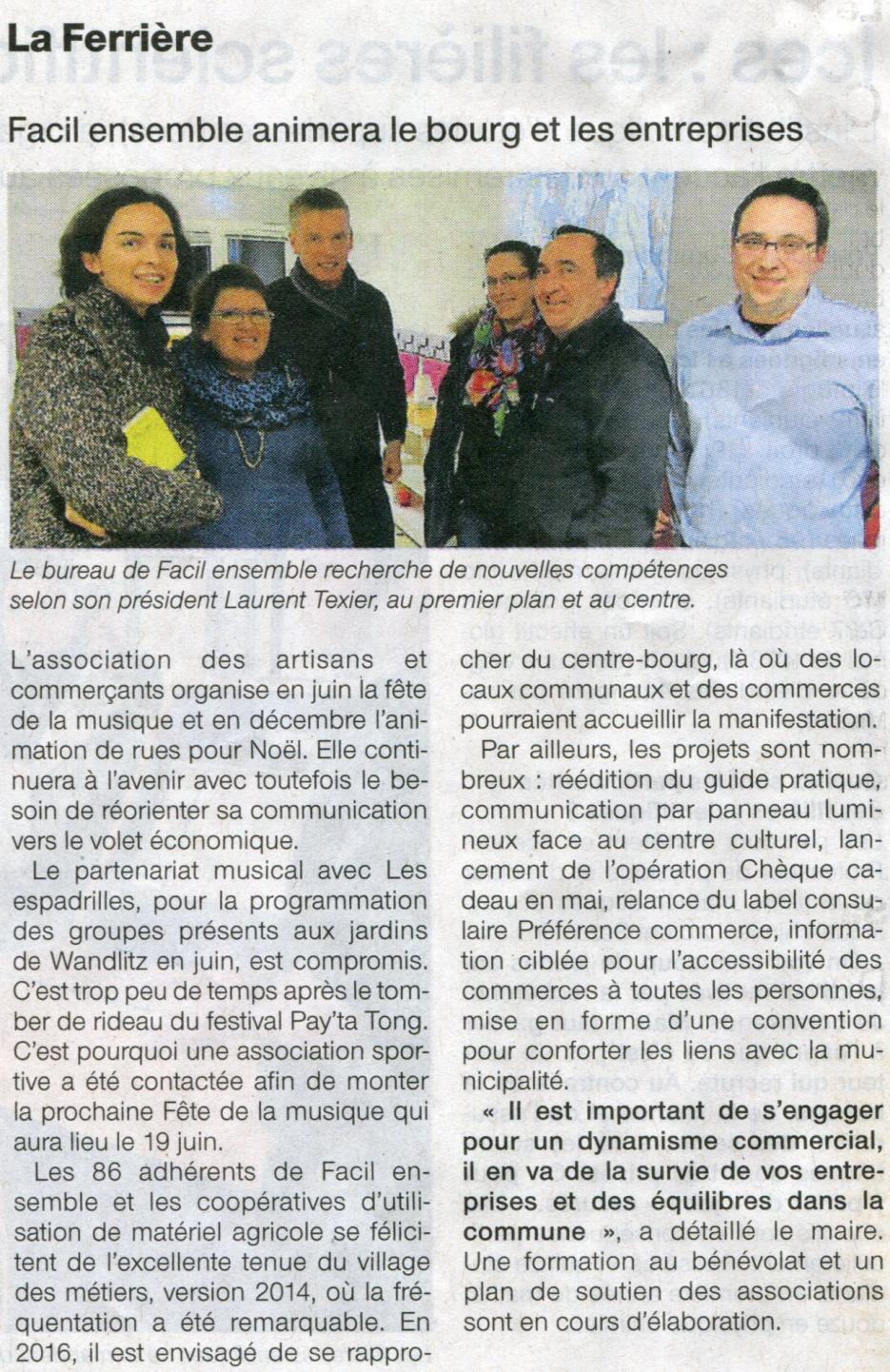 FACIL'Ensemble animera le bourg et les entreprises