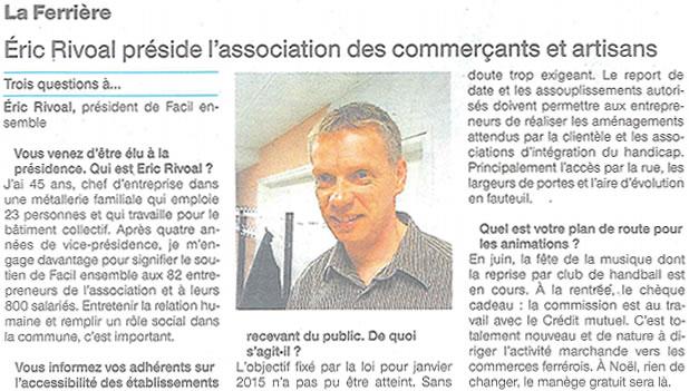 Éric Rivoal préside l'association des commerçants et artisants